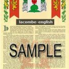 LACOMBE - ENGLISH - Armorial Name History - Coat of Arms - Family Crest GIFT! 8.5x11