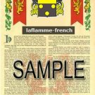 LAFLAMME - FRENCH - Armorial Name History - Coat of Arms - Family Crest GIFT! 8.5x11