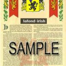 LAFOND - IRISH - Armorial Name History - Coat of Arms - Family Crest GIFT! 8.5x11