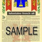 LAFONTAINE - FRENCHALT - Armorial Name History - Coat of Arms - Family Crest GIFT! 8.5x11