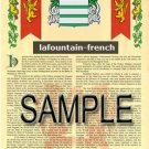 LAFOUNTAIN - FRENCH - Armorial Name History - Coat of Arms - Family Crest GIFT! 8.5x11