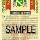 LAGUNA - SPANISH - Armorial Name History - Coat of Arms - Family Crest GIFT! 8.5x11