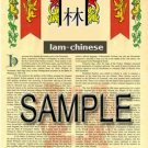 LAM - CHINESE - Armorial Name History - Coat of Arms - Family Crest GIFT! 8.5x11