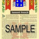 LAMONT - FRENCH - Armorial Name History - Coat of Arms - Family Crest GIFT! 8.5x11