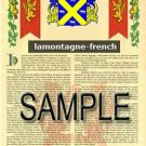 LAMONTAGNE - FRENCH - Armorial Name History - Coat of Arms - Family Crest GIFT! 8.5x11