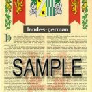 LANDES - GERMAN - Armorial Name History - Coat of Arms - Family Crest GIFT! 8.5x11