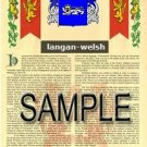 LANGAN - WELSH - Armorial Name History - Coat of Arms - Family Crest GIFT! 8.5x11