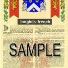 LANGLOIS - FRENCH - Armorial Name History - Coat of Arms - Family Crest GIFT! 8.5x11