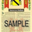 LAROCCA - ITALIAN - Armorial Name History - Coat of Arms - Family Crest GIFT! 8.5x11