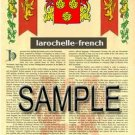 LAROCHELLE - FRENCH - Armorial Name History - Coat of Arms - Family Crest GIFT! 8.5x11