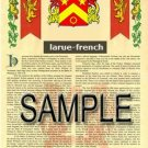 LARUE - FRENCH - Armorial Name History - Coat of Arms - Family Crest GIFT! 8.5x11