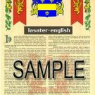 LASATER - ENGLISH - Armorial Name History - Coat of Arms - Family Crest GIFT! 8.5x11