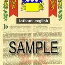 LATHAM - ENGLISH - Armorial Name History - Coat of Arms - Family Crest GIFT! 8.5x11