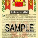 LATHROP - ENGLISH - Armorial Name History - Coat of Arms - Family Crest GIFT! 8.5x11