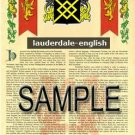 LAUDERDALE - ENGLISH - Armorial Name History - Coat of Arms - Family Crest GIFT! 8.5x11