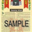 LAVERY - IRISH - Armorial Name History - Coat of Arms - Family Crest GIFT! 8.5x11