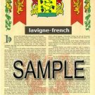 LAVIGNE - FRENCH - Armorial Name History - Coat of Arms - Family Crest GIFT! 8.5x11