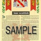LAW - SCOTTISH - Armorial Name History - Coat of Arms - Family Crest GIFT! 8.5x11