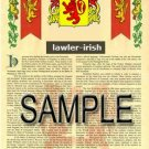 LAWLER - IRISH - Armorial Name History - Coat of Arms - Family Crest GIFT! 8.5x11