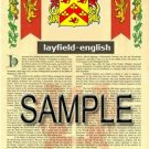 LAYFIELD - ENGLISH - Armorial Name History - Coat of Arms - Family Crest GIFT! 8.5x11