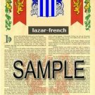 LAZAR - FRENCH - Armorial Name History - Coat of Arms - Family Crest GIFT! 8.5x11