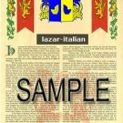 LAZAR - ITALIAN - Armorial Name History - Coat of Arms - Family Crest GIFT! 8.5x11