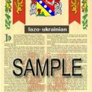 LAZO - UKRAINIAN - Armorial Name History - Coat of Arms - Family Crest GIFT! 8.5x11