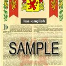 LEA - ENGLISH - Armorial Name History - Coat of Arms - Family Crest GIFT! 8.5x11