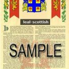 LEAL - SCOTTISH - Armorial Name History - Coat of Arms - Family Crest GIFT! 8.5x11