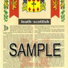 LEATH - SCOTTISH - Armorial Name History - Coat of Arms - Family Crest GIFT! 8.5x11