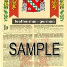 LEATHERMAN - GERMAN - Armorial Name History - Coat of Arms - Family Crest GIFT! 8.5x11