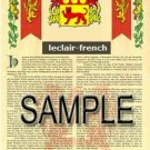 LECLAIR - FRENCH - Armorial Name History - Coat of Arms - Family Crest GIFT! 8.5x11