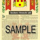 LECLERC - FRENCHALT - Armorial Name History - Coat of Arms - Family Crest GIFT! 8.5x11