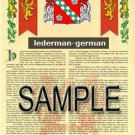 LEDERMAN - GERMAN - Armorial Name History - Coat of Arms - Family Crest GIFT! 8.5x11