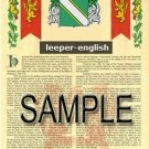 LEEPER - ENGLISH - Armorial Name History - Coat of Arms - Family Crest GIFT! 8.5x11