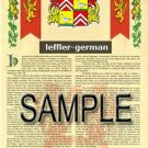 LEFFLER - GERMAN - Armorial Name History - Coat of Arms - Family Crest GIFT! 8.5x11