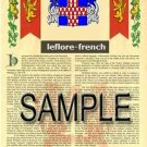 LEFLORE - FRENCH - Armorial Name History - Coat of Arms - Family Crest GIFT! 8.5x11