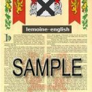 LEMOINE - ENGLISH - Armorial Name History - Coat of Arms - Family Crest GIFT! 8.5x11