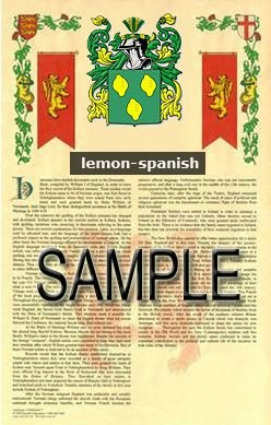 LEMON - SPANISH - Armorial Name History - Coat of Arms - Family Crest GIFT! 8.5x11
