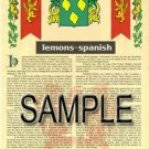 LEMONS - SPANISH - Armorial Name History - Coat of Arms - Family Crest GIFT! 8.5x11
