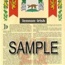 LENNON - IRISH - Armorial Name History - Coat of Arms - Family Crest GIFT! 8.5x11