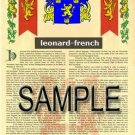 LEONARD - FRENCH - Armorial Name History - Coat of Arms - Family Crest GIFT! 8.5x11