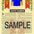 LERCH - ENGLISH - Armorial Name History - Coat of Arms - Family Crest GIFT! 8.5x11
