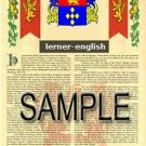 LERNER - ENGLISH - Armorial Name History - Coat of Arms - Family Crest GIFT! 8.5x11