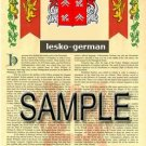 LESKO - GERMAN - Armorial Name History - Coat of Arms - Family Crest GIFT! 8.5x11
