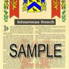 LETOURNEAU - FRENCH - Armorial Name History - Coat of Arms - Family Crest GIFT! 8.5x11