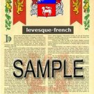 LEVESQUE - FRENCH - Armorial Name History - Coat of Arms - Family Crest GIFT! 8.5x11