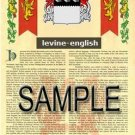 LEVINE - ENGLISH - Armorial Name History - Coat of Arms - Family Crest GIFT! 8.5x11