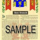 LIEN - FRENCH - Armorial Name History - Coat of Arms - Family Crest GIFT! 8.5x11