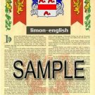 LIMON - ENGLISH - Armorial Name History - Coat of Arms - Family Crest GIFT! 8.5x11
